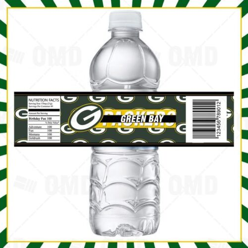Green Bay Packers Sports Party Bottle Labels