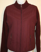 Womens Ladies Sweater Jacket Creazioni Effeci Purple Bordeaux Zip Front Sz L