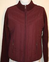Womens Ladies Sweater Jacket Creazioni Effeci Purple Bordeaux Zip Front Sz L