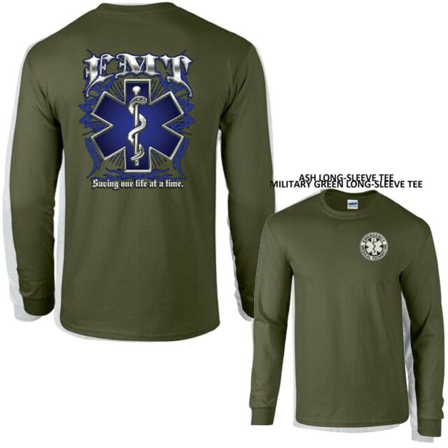 EMS EMT Paramedic Prayer Star of Life New Long Sleeve 100/% Cotton Blue T-Shirt