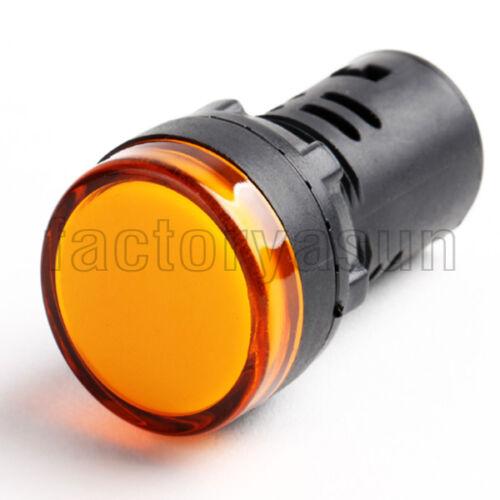 10PCS Yellow 22mm 12V Panel Mount LED Power Indicator Pilot Signal Light Lamp