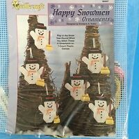 Happy Snowman Ornaments Plastic Canvas Kit Xmas Holiday Sealed Snowman Set Of 6