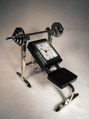 BODY BUILDERS GIFT PRESENT MINIATURE CLOCK WEIGHT TRAINERS GIFT KEEP FIT CLOCK