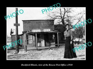 OLD-LARGE-HISTORIC-PHOTO-OF-ROCKFORD-ILLINOIS-THE-ROSCOE-POST-OFFICE-c1910
