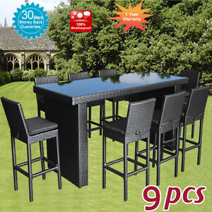 Wicker Rattan Outdoor Furniture Bar Table Chairs Dining Pool High Set 9pcs New