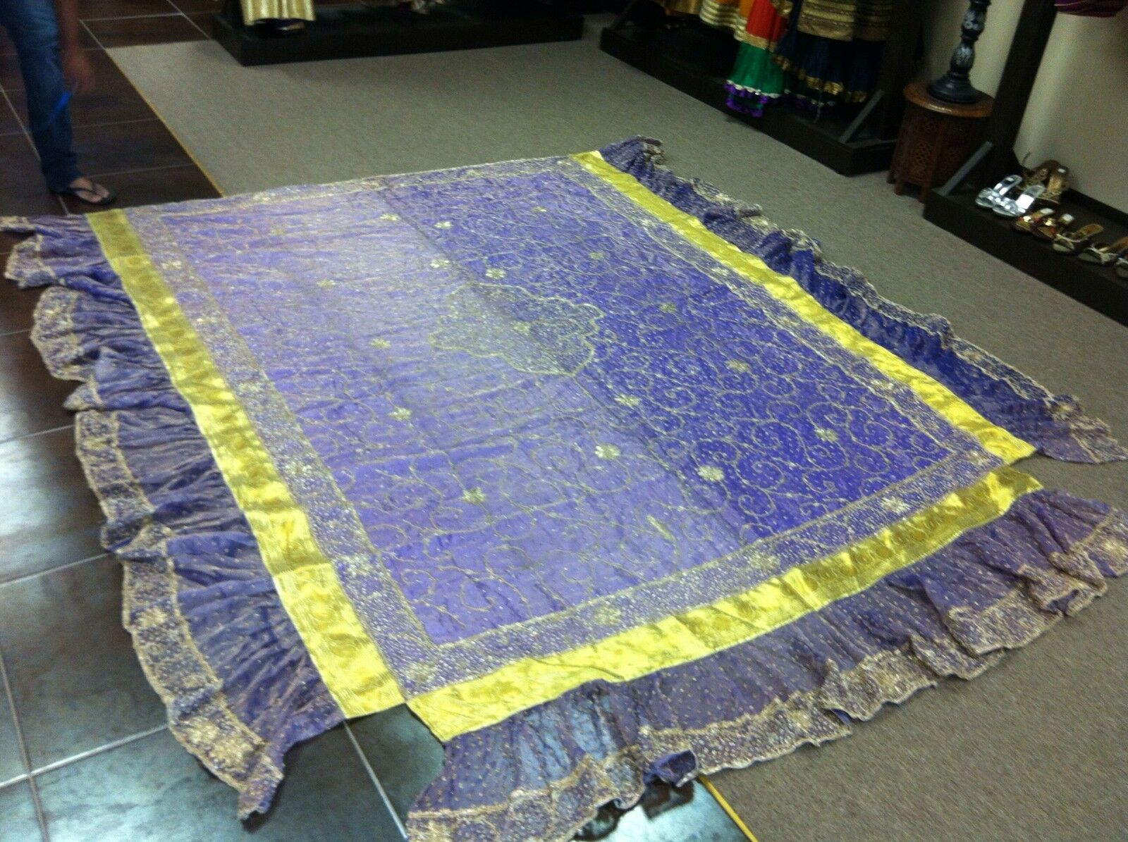 Indian Organza Satin Bedspread with Bedskirt (Dapka Work all done by hand)