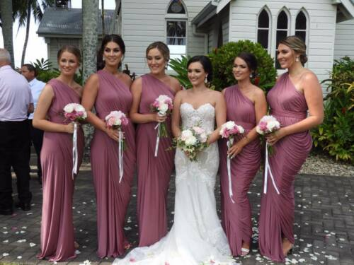 Bridesmaids formal dresses Designed by Pia Gladys Perey exclusive to Whiterunway
