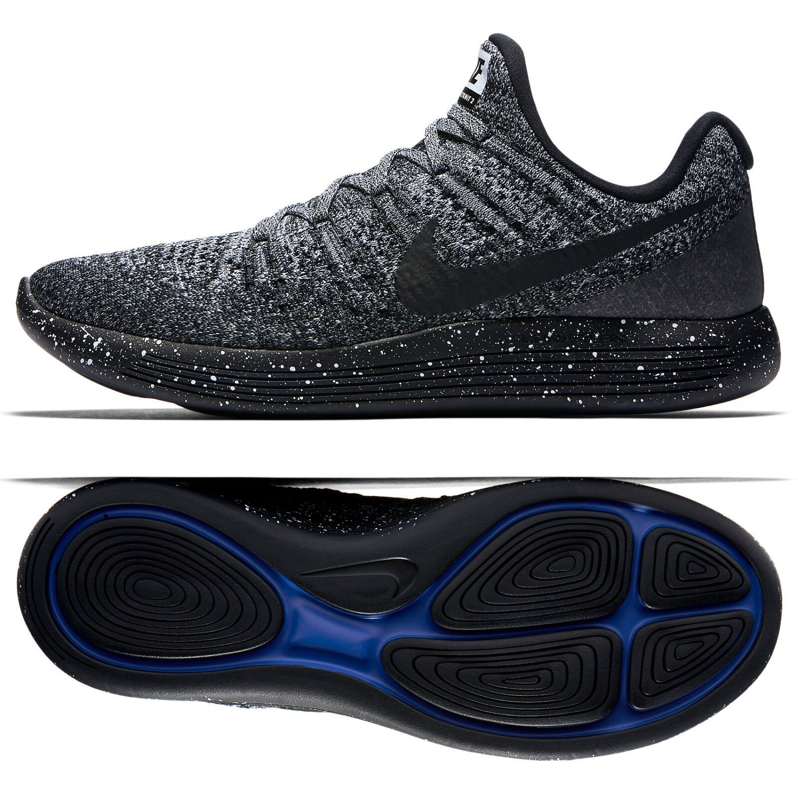 Nike LunarEpic Low Flyknit 2 863779-041 Black/White/Racer Blue Men Running Shoes New shoes for men and women, limited time discount