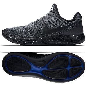 timeless design 17c88 a99a0 Details about Nike LunarEpic Low Flyknit 2 863779-041 Black/White/Racer  Blue Men Running Shoes