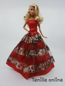 New Barbie clothes outfit princess wedding gown dress red animal print shoes