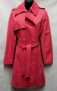 L Trench S Coat Pink Rain Sz Unlined Udtryk Bælte Up Ny Knap Rose FwUE8Zq