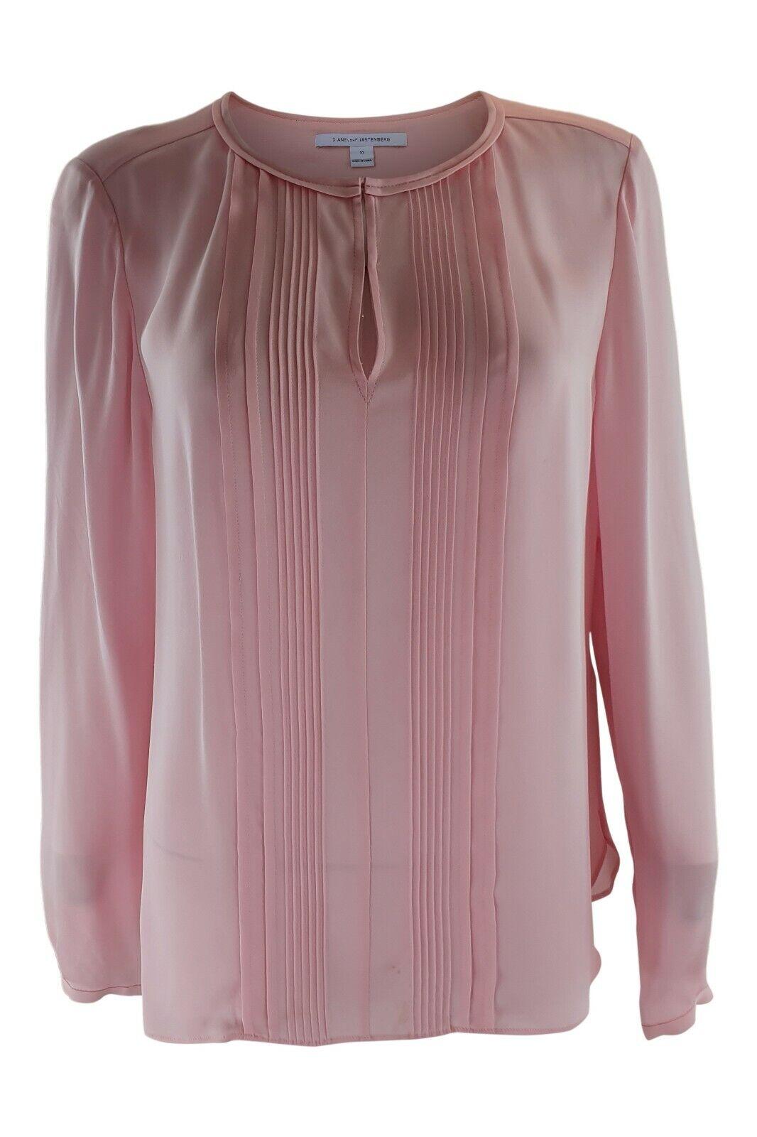DIANE VON FURSTENBERG Woherren 100% Silk Long Sleeve Blouse, Rosa (10)