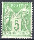 "FRANCE STAMP TIMBRE 102 "" TYPE SAGE 5c VERT JAUNE TYPE I "" NEUF xx TTB M506"