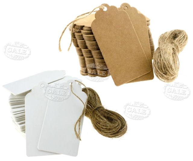 100Stk Weiss/Packpapier Anhänger Etiketten Gift Tags Geschenkanhänger 9x4