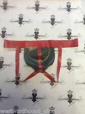R758 Stunning Mens JOCK Westward Bound Couture OLIVE/RED Trim O/S