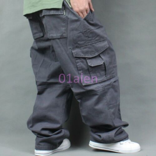 Outdoor Mens Baggy Loose Trouser Cargo Carpenters Overalls Leisure Pants 36-50