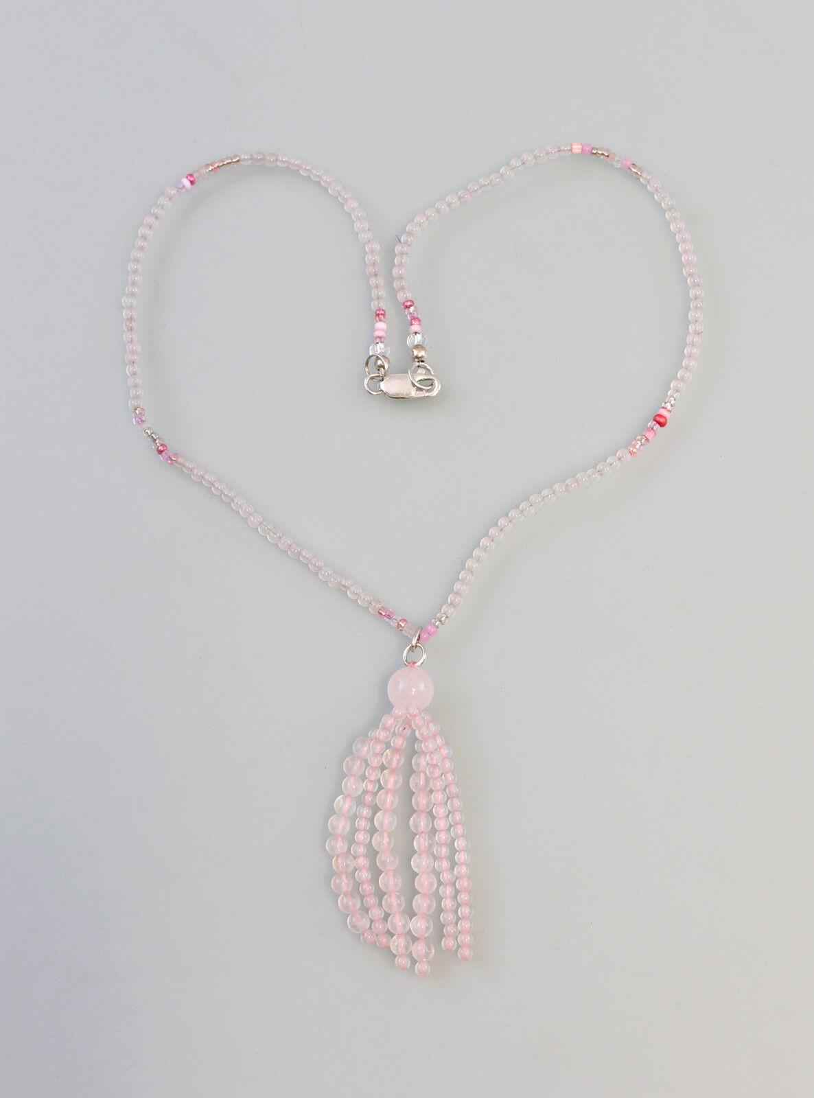 9907354 925er silver Kette mit facettierten pinknquarz L47cm