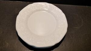 Indiana-Colony-White-Milk-Glass-Salad-Plates-Harvest-Grape-Embossed-Depression