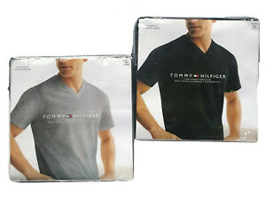 Tommy-Hilfiger-Men-039-s-Two-Classic-Fit-Short-Sleeve-V-Neck-Plain-Tees-0-Free-Ship