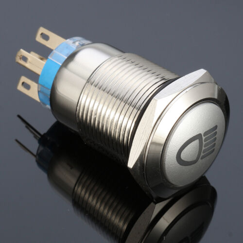 12V 19mm 5 Pin LED Push Button Metal latching Switch for Car Fog lights ON//OFF