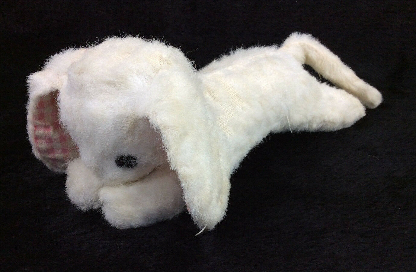 VTG Eden Plush Bunny Rabbit Weiß Rosa Gingham Ears Rattle Jingle FLAW