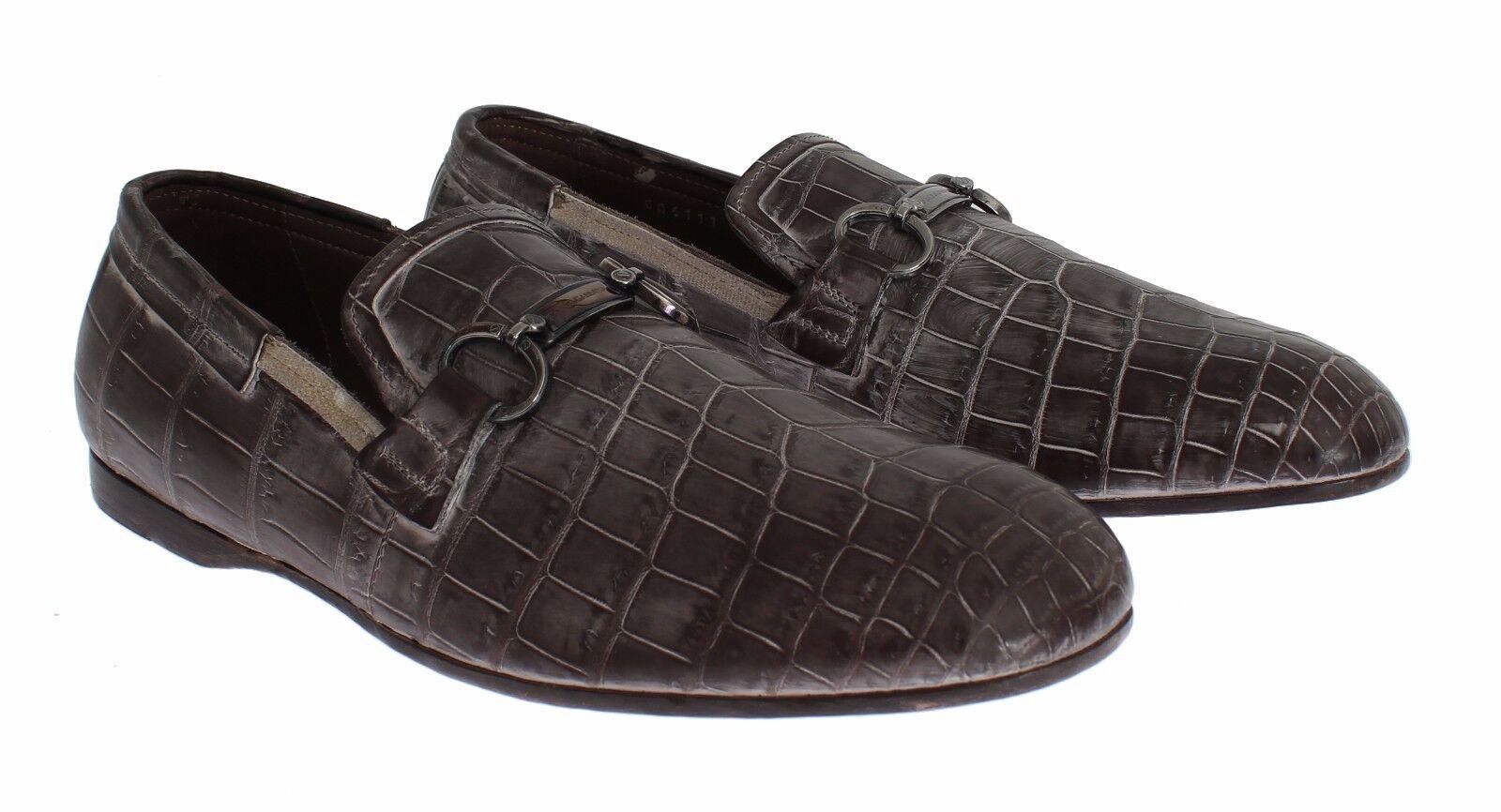 NEW  5400 DOLCE & GABBANA Scarpe Scarpe Scarpe  marrone Crocodile Loafers Dress Formal EU42 / US9 3de3c4