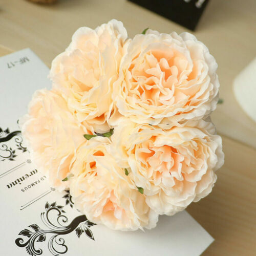 5 Heads Artificial Peony Bouquet Silk Fake Flowers Bridal Wedding Party Decor