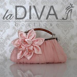 CLUTCH Chiffon Tasche Satin Blume Bambus Griff rosa rose Abendtasche Gala