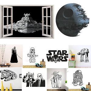 Star Wars Death Star Yoda Removable Wall Sticker Kids Boy