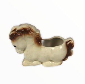 Vintage-Shawnee-Pottery-Ivory-amp-Brown-Horse-Pony-Nursery-Baby-Planter-Pot-Vase