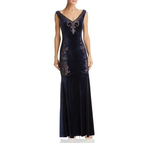 BCBG Max Azria Womens Velvet Lace Illusion Special Occasion Dress Gown BHFO 6565