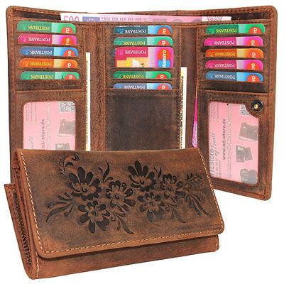 Vintage Leder Damen Geldbörse Portemonnaie Rindleder rustikal 16 Kartenfächer