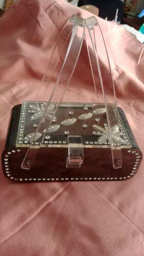 Vintage Lucite Handbag Purse With Clear floral Car