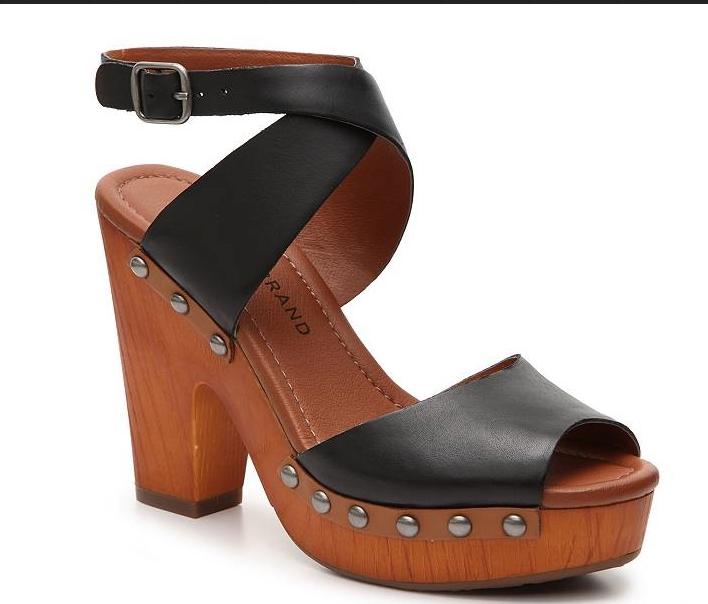 LUCKY BRAND NESSAH noir leather studded wedge chunky heel sandals chaussures 9.5 M
