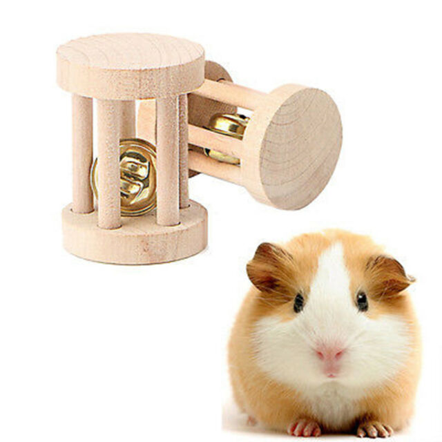 1PC Natural Wood Chew Toys Bell Roller Dumbells For Pet Rabbits Hamsters Rat le