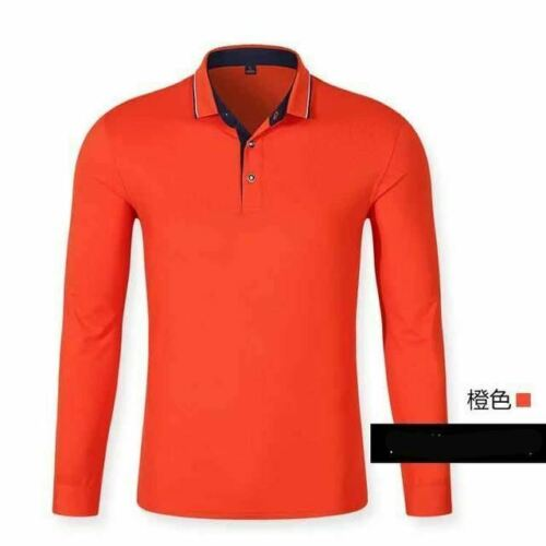 Men Long Sleeve Solid Polo Shirts Cotton Good Quality Plus Size