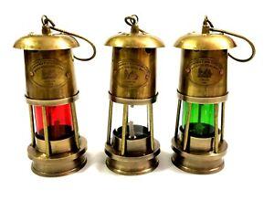 Set-of-3-Brass-Minor-Oil-Lamp-Antique-Nautical-Ship-Lantern-Maritime-Boat-Light