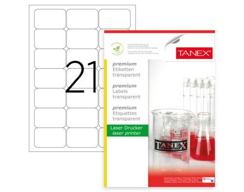 525 Etiketten 25 Bl TANEX TW-2021 Polyester Adressetikett 63,5 x 38,1 mm transp