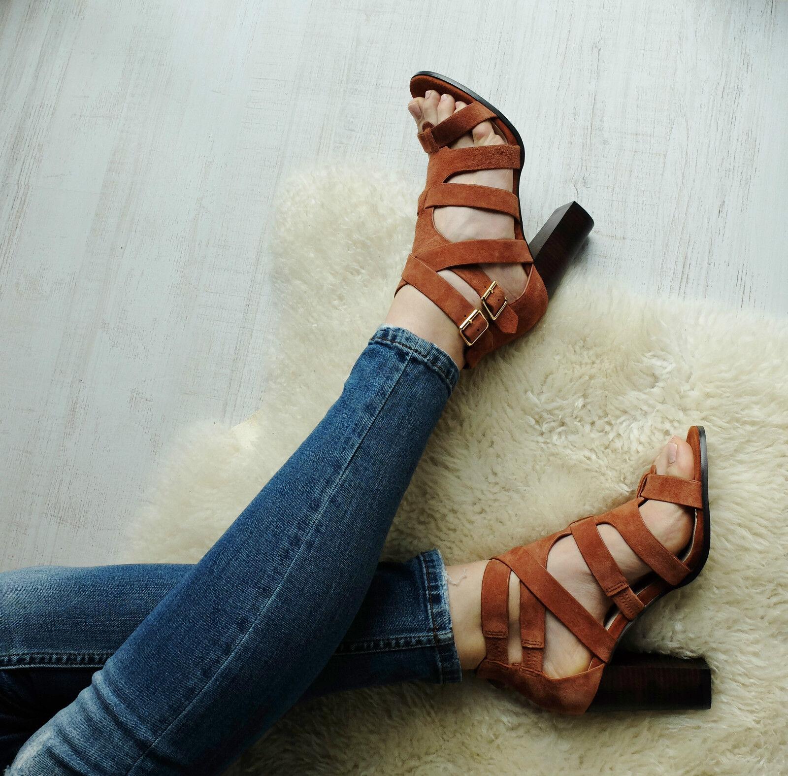 BURNT ORANGE  BRICK CUT OUT PEEP TOE STRAPPY Schuhe SANDALS HEELS