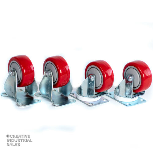 """300lb each 2 3/"""" x 1-1//4/"""" Swivel Casters w// Red Polyurethane Wheel 2 Rigid"""