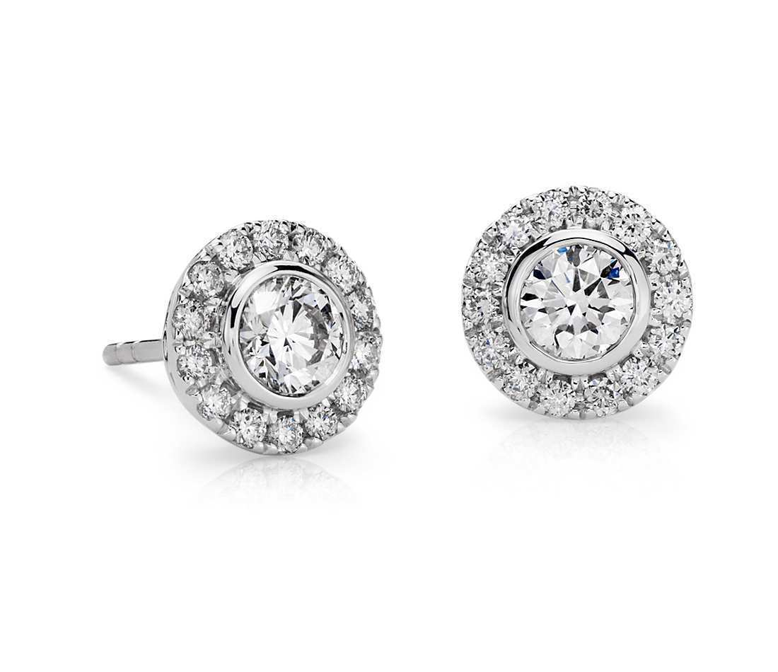 Pave 1.62 Carats Natural Diamonds Halo Stud Earrings In Solid Certified 18K gold