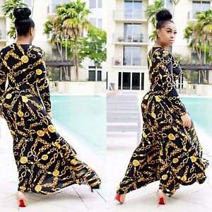 Lady-Long-Sleeve-Maxi-Dress-Cocktail-Party-Club-Blue-Gold-Chain-Print-Beach-6-14