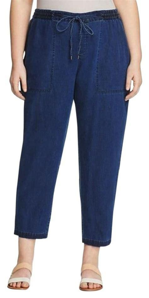 NEW EILEEN FISHER bluee Jean Pant Elastic Waist Casual Loose Relaxed Sz M