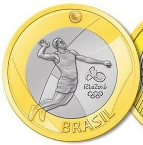 Brazil 1 real 2015 UNC Volleyball Rio Olympics 2016 Bi-Metallic bimetal