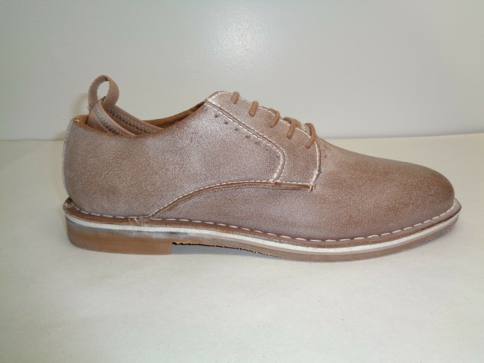 Steve Madden Size 13 M STANNIS Tan Distressed Leather Oxfords New Mens shoes