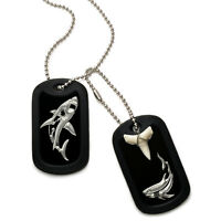 Real Shark Tooth Necklace Aluminum Dog Tag With Engraved Shark Design 24 Inches