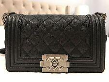 Authentic CHANEL Small Boy Black Caviar Leather w/ Ruthenium Hardware Handbag
