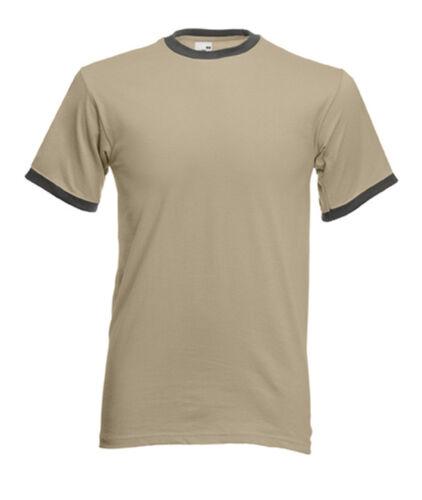 Shirt T-Shirt kurze ärmel FRUIT VON DIE LOOM Pullover Herren zweifarbig RINGER #