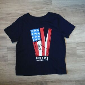 Boys-Old-Navy-Blue-patriotic-tee-shirt-size-2T-peace-sign-flag-4th-of-July-new