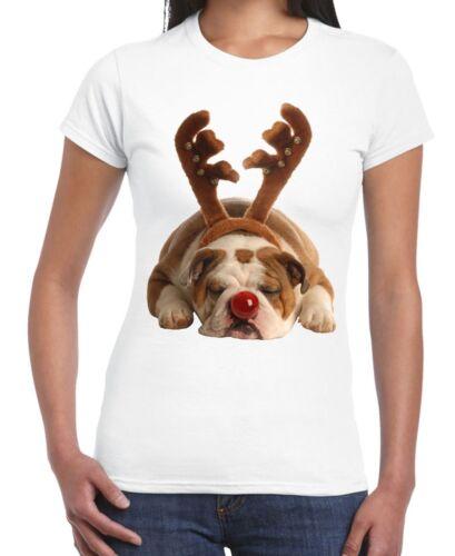 Bulldog Rudolph Reindeer Cute Christmas Women/'s T-Shirt